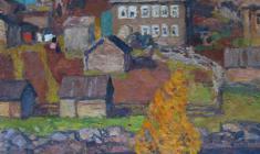 Николай Галахов. Осень в северной деревне Умба. Х.м.,73х48. 1989
