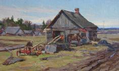 Александр Семёнов. Ферма. Карт.м.,22,7х41,2. 1950