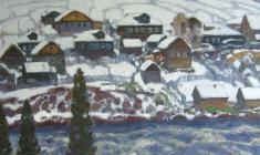 Николай Галахов. Первый снег на Умбе. Х.м., 80х90,5. 1985