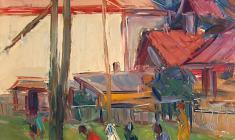 Арсений Семёнов.  За водой. Карт.м.,47,8х32,8. 1959