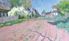 Александр Семёнов. Деревня Грязино. Карт.м.,56,5х77. 1978