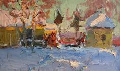 Александр Семёнов. В Старой Ладоге. Карт.м.,25х34,7. 1964