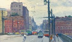 Александр Семёнов. Литейный мост на Неве в Ленинграде. Карт.м.,60х80. 1982