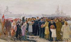 Алексей Можаев. Встреча моряков в Ленинграде. Х.м.,38х67,5. 1954