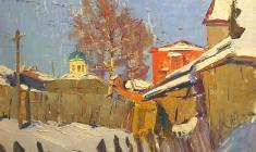 Александр Семёнов.  Старая Ладога. К весне. Карт.м.,49,5х69,5. 1972