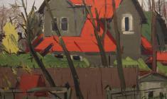 Арсений Семёнов. Красные крыши. Х.м.,47,5х74. 1964