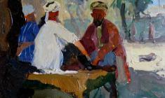 Виктор Отиев. Самарканд. Чайный дом. Карт.м.,19х24,5.,1959