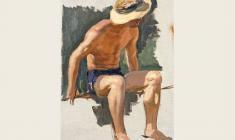 Борис Корнеев. Сидящий парень. Х.м.,50х33. 1954