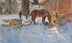 Александр Семёнов. Этюд с лошадью. Карт.м.,37,5х49,5. 1972