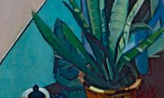 Арсений Семёнов. Натюрморт с цветком. Х.м.,65,5х45,5. 1972