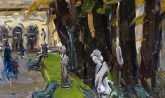 Арсений Семёнов. Летний сад осенью. Карт.м.,49,8х34,5. 1958