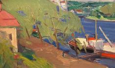 Арсений Семёнов. Летний день на Волхове. Карт.м.,40х69. 1958