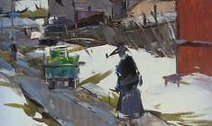 Арсений Семёнов. Оттепель. Карт.м.,68,7х53,5. 1963