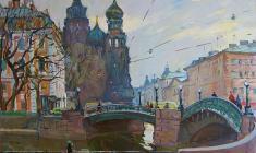 Александр Семёнов. Ленинградские мосты. Х.м.,60х72. 1977