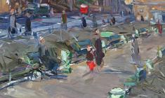 Арсений Семёнов. Ленинградская тема. Карт.м.,50,5х34,8. 1957