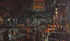 Александр Семёнов. Ночь на Исаакиевской площади. Карт.м.,60х60. 1978