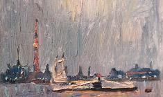 Александр Семёнов. Корабли на Неве. Карт.м.,18,5х23,4. 1976