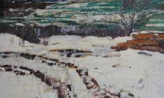 Н. Тимков. Первый снег.  Карт.м.,  38,5х50,3. 1964
