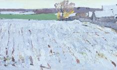 Н. Тимков. Первый снег.  Карт.м.,  16х35. 1963