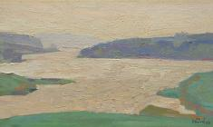 Н. Тимков. Озеро Мстино.  Карт.м., 19х34. 1960