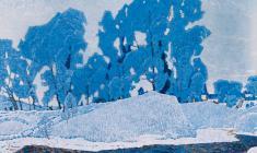 Н. Тимков. Русская зима.  Х.м., 100х150. 1969