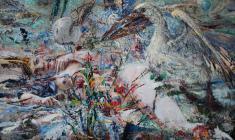 Люся и пеликан.50х100.2008